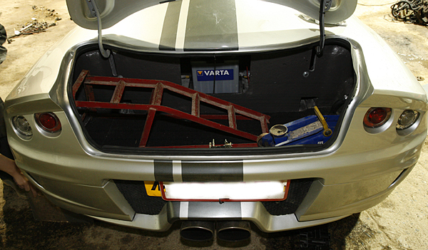 Murtaya Trunk Space.  Note the Rear-Mounted Battery for Optimal Weight Distribution (Photo by Mark Sansby)