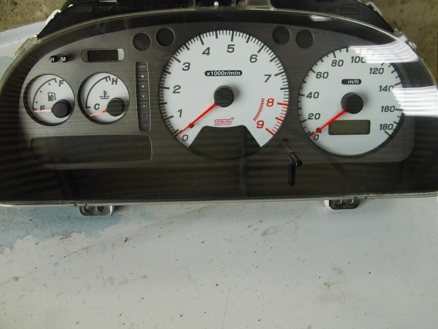 The gauges from the fantastic STi Type-R donor car.