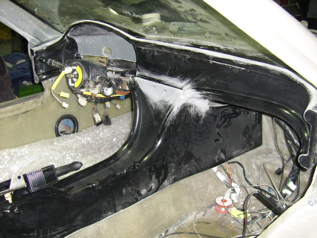Dashboard trial fitted with wiring loom installed behind it