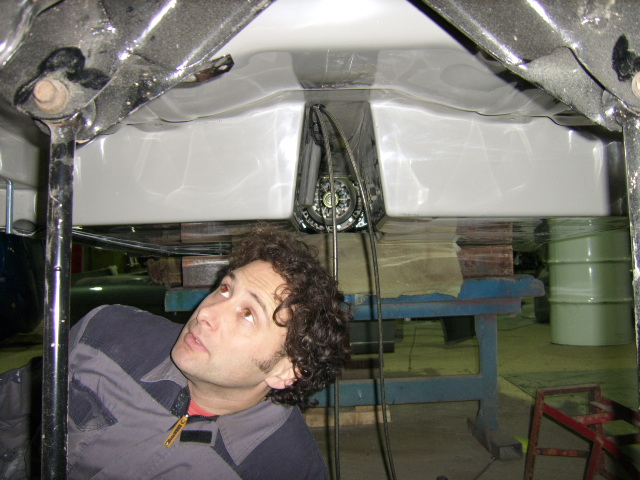 Tim at work underneath the car